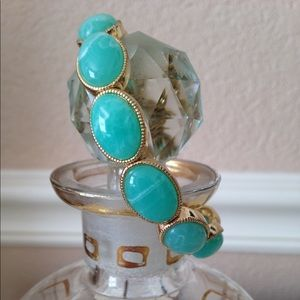 Monet Stretch Bracelet Turquoise and Gold